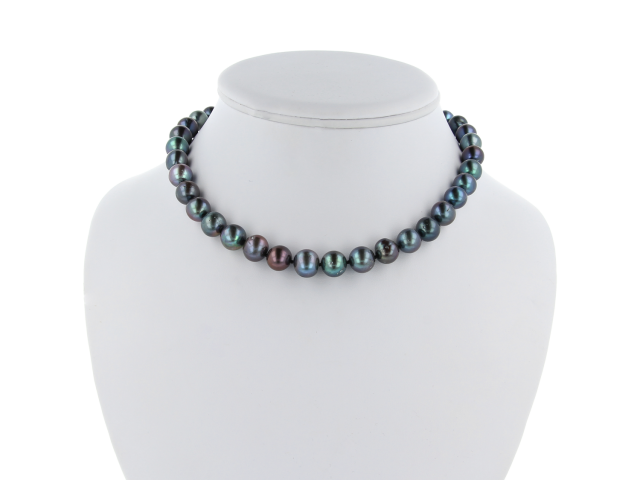 Náhrdelník 11-12 mm čierne riečne perly a pozlátené zapínanie - A kvalita
