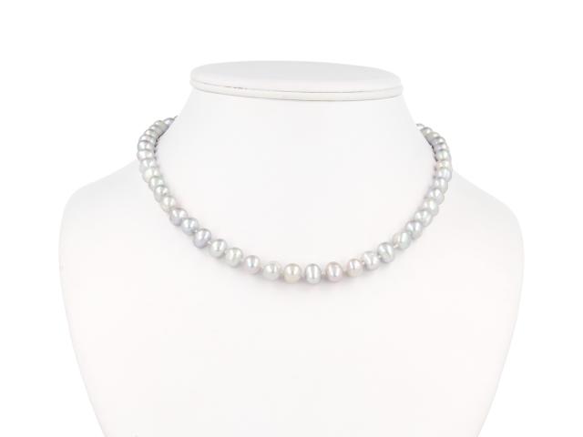 Náhrdelník 8-9mm sivé riečne perly