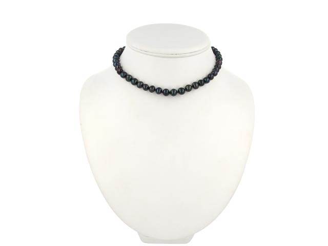 Náhrdelník okrúhle 8-9mm čierne riečne perly