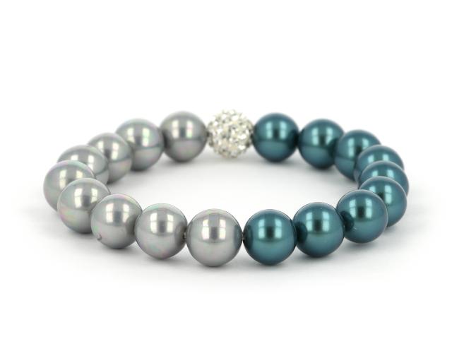 Náramok pávie modré a sivé shell perly a CZ krištáľ