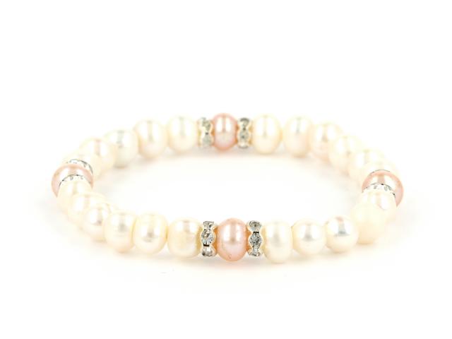 Elastický náramok biele a ružové riečne perly