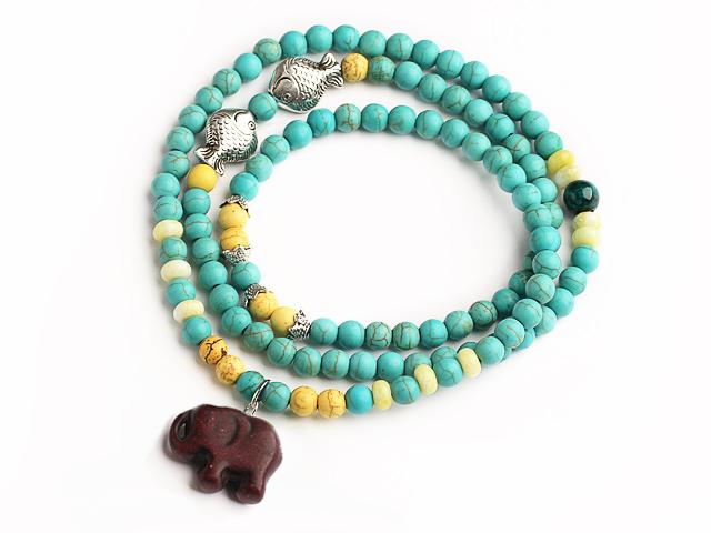 Náramok modrý a žltý tyrkenit s príveskom hnedý slon