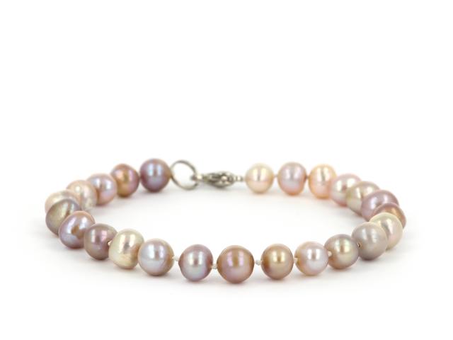 Náramok fialové riečne perly 7-8mm