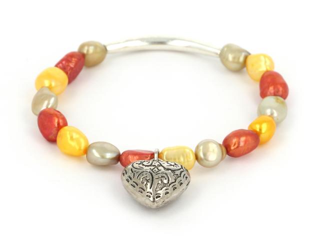 Náramok žlté, oranžové a sivé riečne perly s príveskom srdiečko
