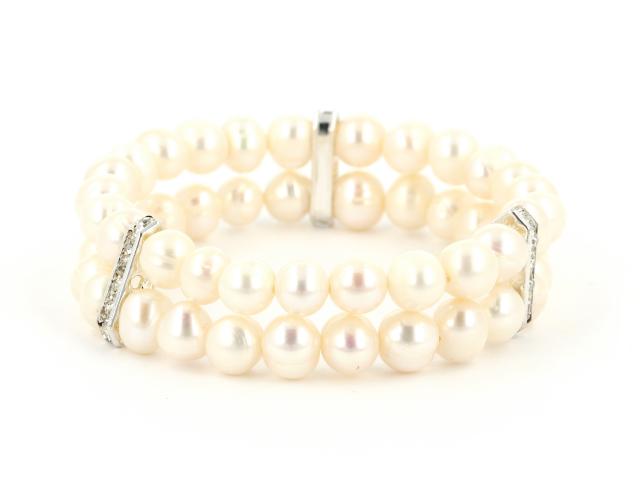 Dvojradový náramok biele riečne perly s krištáľmi