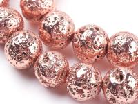 Lávový kameň pokovovaný ružovo-zlatý 10mm