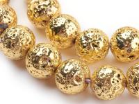 Lávový kameň pokovovaný zlatý 10mm