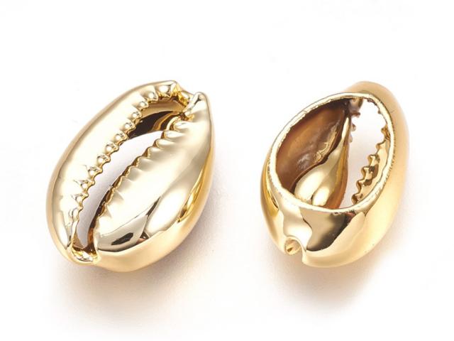 Kovová korálka - mušľa Kauri - zlatá