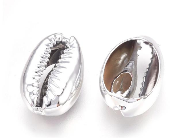 Kovová korálka - mušľa Kauri - platinová
