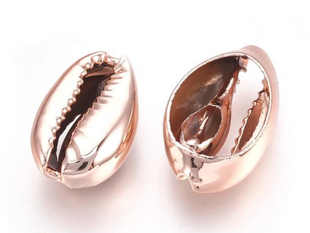Kovová korálka - mušľa Kauri - ružovo-zlatá