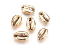 Kovová korálka - mušľa Kauri - svetlozlatá