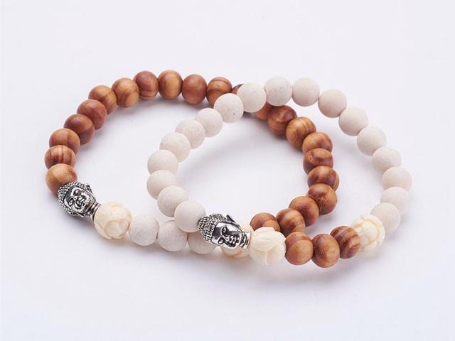 Drevené Buddha náramky pre páry biely achát 5ff61c63c08