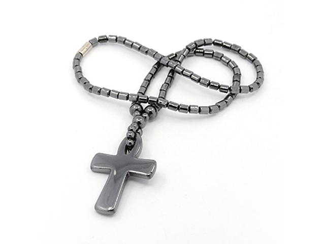 Náhrdelník hematit a kríž