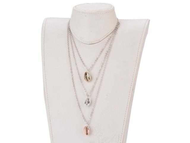 Trojradový náhrdelník farebné mušle Kauri