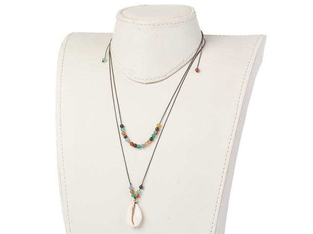 Set - 2 náhrdelníky achát a mušľa Kauri