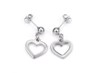 Oceľová súprava náhrdelník, náramok a náušnice - srdce
