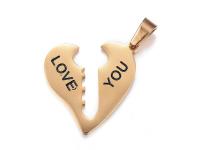 Oceľový dvojprívesok - kľúč k srdcu I love you - zlatý
