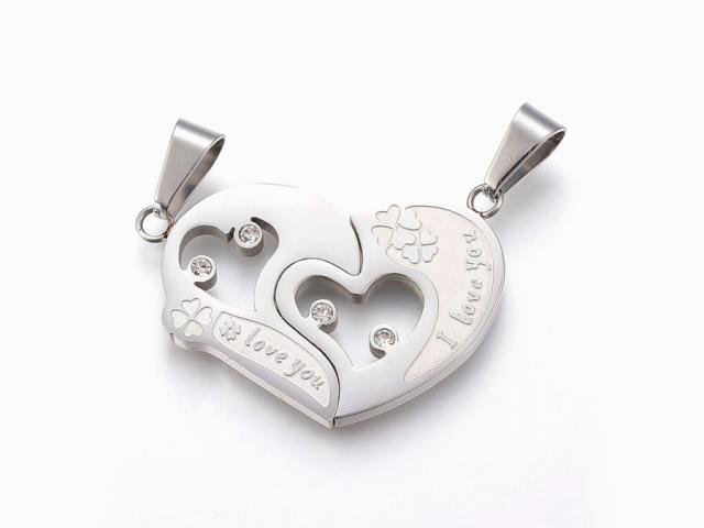 Oceľový dvojprívesok - srdcia