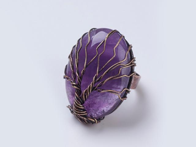 Nastaviteľný drôtovaný prsteň ametyst a strom života
