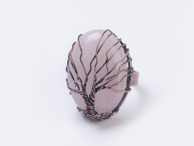Nastaviteľný drôtovaný prsteň ruženín a strom života
