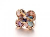Nastaviteľný prsteň farebný krištáľ v tvare kvetu - zlatý