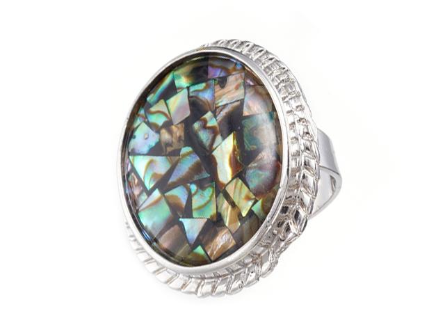 Nastaviteľný prsteň Paua perleť oválneho tvaru