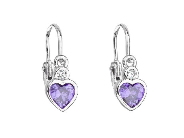 Strieborné detské náušnice visiace so zirkónom fialové srdce