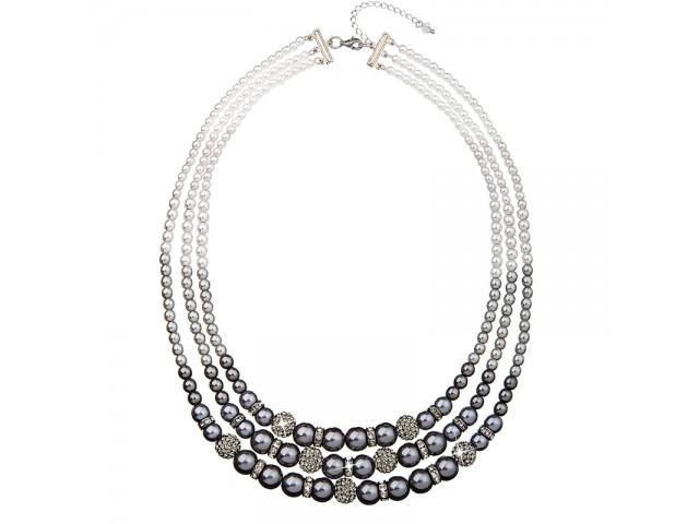 Perlový náhrdelník sivý