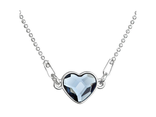 Strieborný náhrdelník s krištáľom Swarovski modré srdce