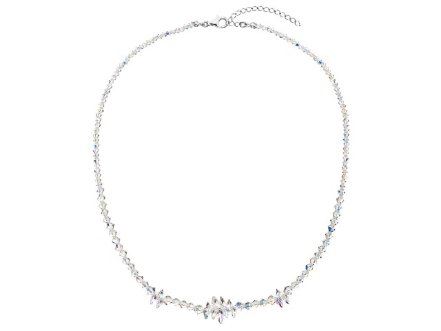 Strieborný náhrdelník s krištáľmi Swarovski AB efekt strapec