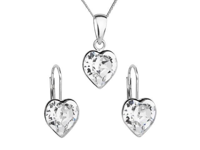 Sada šperkov s krištáľmi Swarovski náušnice, retiazka a prívesok biele srdce
