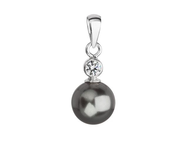Strieborný prívesok s krištáľom Swarovski a sivou okrúhlou perlou
