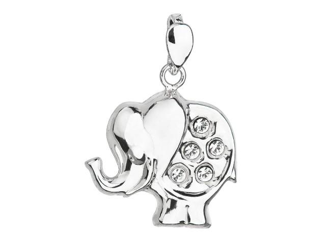 Strieborný prívesok s krištáľmi Swarovski biely slon