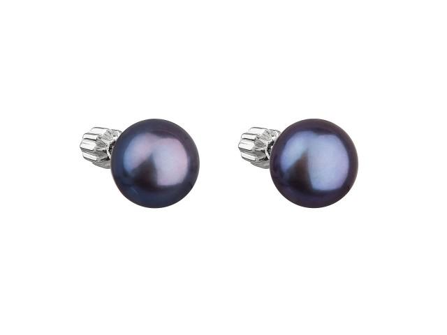Strieborné náušnice kôstky s modrou riečnou perlou