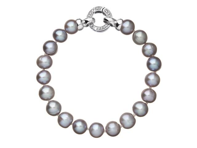 Perlový náramok z pravých riečnych perál sivý