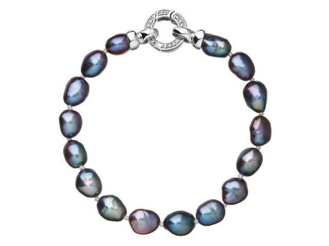 Perlový náramok z pravých riečnych perál modrý
