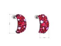 Strieborné náušnice visiace s krištáľmi Swarovski červenej polkruh cherry
