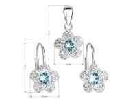 Sada šperkov s krištáľmi Swarovski náušnice a prívesok modrá kytička