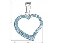 Strieborný prívesok s krištáľmi Swarovski modré srdce
