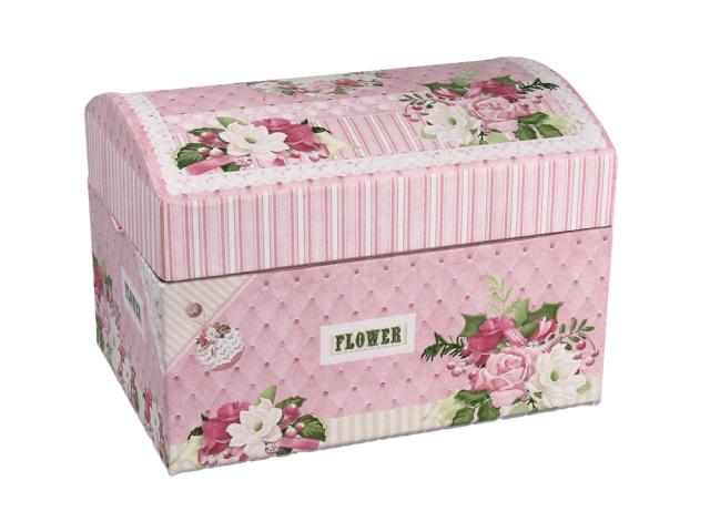 Ružová šperkovnica z tvrdého papiera 140x100x100 mm