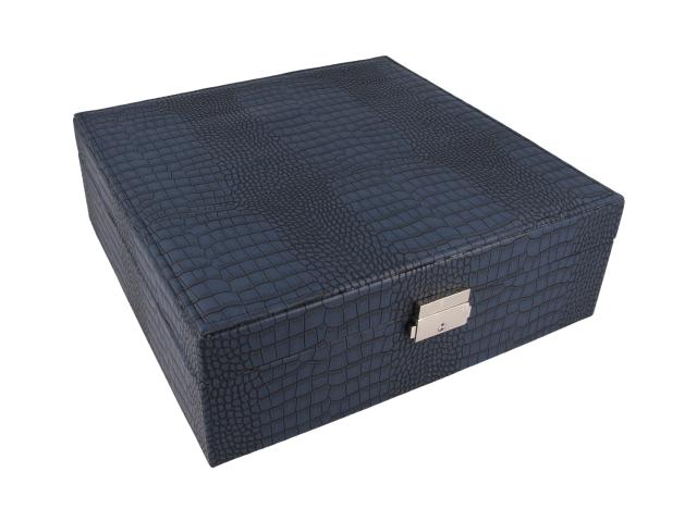 Modrá šperkovnica z ekokože 260x90x260 mm