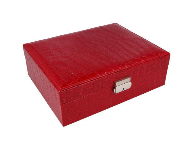 Červená šperkovnica z ekokože 235x80x190 mm