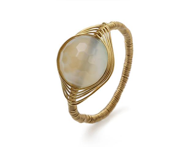 Drôtovaný prsteň brúsený prírodný achát 12mm