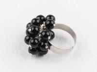 Nastaviteľný prsteň čierny achát
