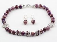 Súprava náhrdelník a náušnice fialový jaspis