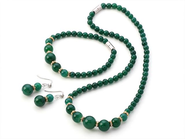 Súprava náhrdelník, náramok a náušnice zelený achát - A kvalita
