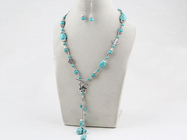 Súprava náhrdelník v tvare Y a náušnice tyrkenit