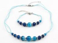 Súprava náhrdelník, náramok a náušnice modrý achát III