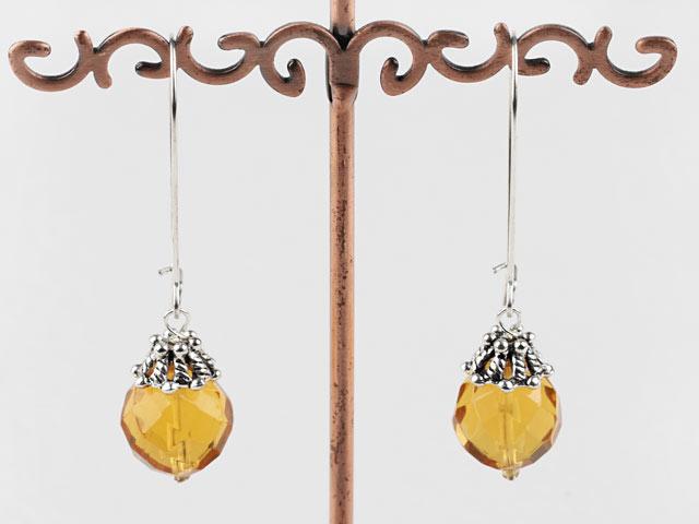 Náušnice brusený citrín