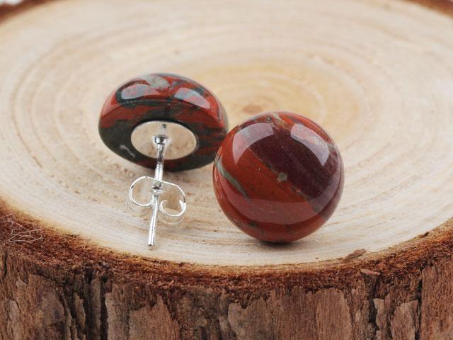 Náušnice červený jaspis - okrúhle